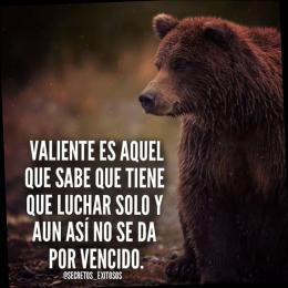 Valiente es aquel que sabe que tiene que luchar solo y aún así no se da por vencido