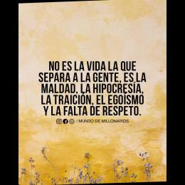 No es la vida la que separa a la gente, es la maldad, la hipocresía, la traición, el egoísmo, y la falta de respeto
