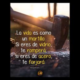 La vida es como un martillo si eres de vidrio te rompera si eres de acero te forjará