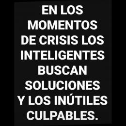 En los momentos de crisis los inteligentes buscan soluciones y los inútiles culpables