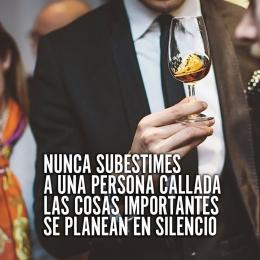 Nunca subestimes a una persona callada las cosas importantes se planean en silencio