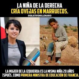 La niña de la derecha cría ovejas en marruecos, la mujer de la izquierda la misma niña 20 años después, como primera ministra de educación de francia