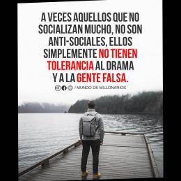 A veces aquellos que no socializan mucho, no son anti-sociales, ellos simplemente no tienen tolerancia al drama y a la gente falsa