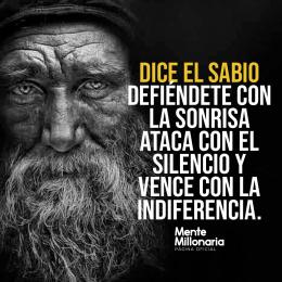 Defiéndete con la sonrisa ataca con el silencio y vence con la indiferencia