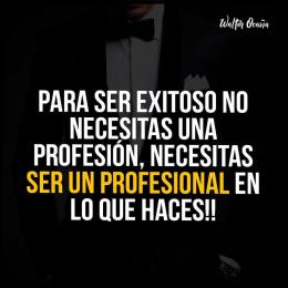 Para ser exitoso no necesitas una profesión, necesitas ser un profesional en lo que haces
