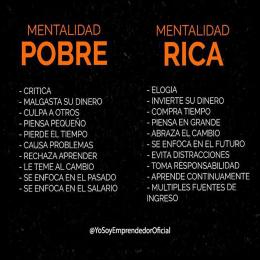 Mentalidad pobre vs Mentalidad rica