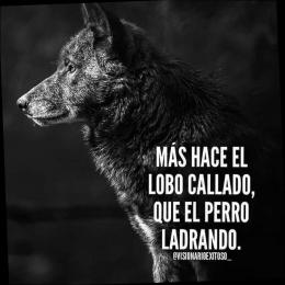 Más hace el lobo callado que el perro ladrando
